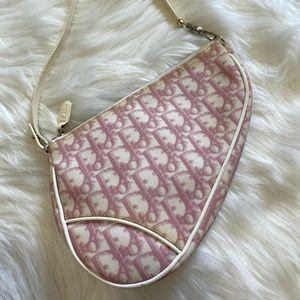 Authentic vintage Dior pink trotter mini saddle